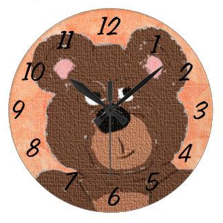Teddy Bear (orange) Wall Clocks