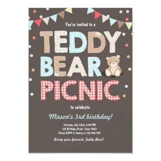 Teddy Bear Picnic Boy birthday Invitation Blue