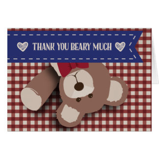 Teddy Bear Picnic Thank You- Red Gingham Card