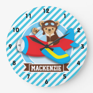 Teddy Bear Pilot in Red Toy Airplane; Blue Stripes Wall Clocks