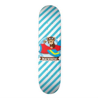 Teddy Bear Pilot in Red Toy Airplane; Blue Stripes Skateboard Deck