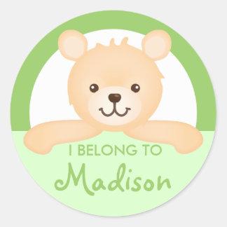 Teddy Bear Property Label (green)