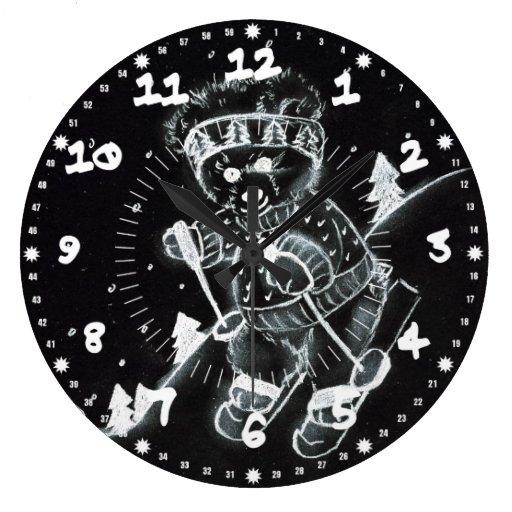 Teddy Bear Skiing in Black and White Wall Clocks
