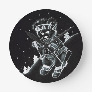 Teddy Bear Skiing in Black and White Round Wallclock