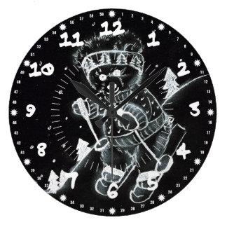 Teddy Bear Skiing in Black and White Wallclocks