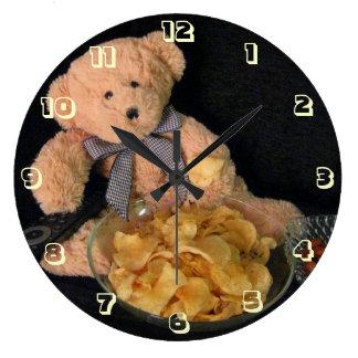 Teddy Bear, Snacks and TV - Kumachan Large Clock