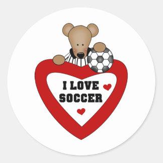 Teddy Bear Soccer Heart Round Sticker