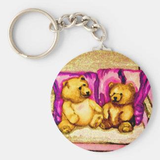 Teddy Bear Talks CricketDiane Art & Design Basic Round Button Key Ring