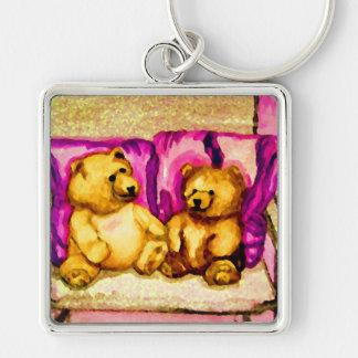 Teddy Bear Talks CricketDiane Art & Design Silver-Colored Square Key Ring