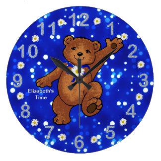 Teddy Bear Time for Girls Wall Clock