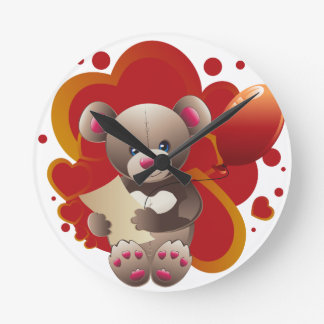 Teddy Bear with Heart 3 Wall Clocks