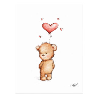 Teddy Bear With Heart Balloon Postcard