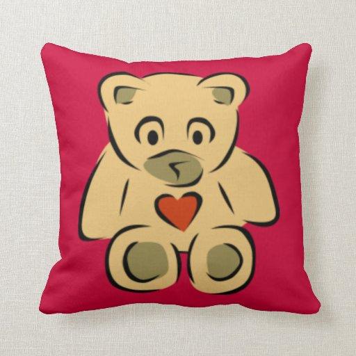 Teddy Bear With Heart Pillow
