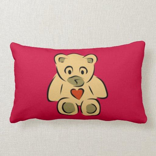Teddy Bear With Heart Throw Pillow