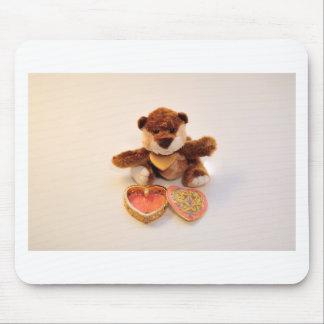 teddy bear with heart mouse pad