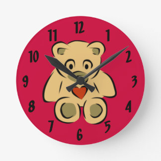 Teddy Bear With Heart Wall Clocks
