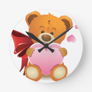 Teddy Bear with Heart Wallclocks