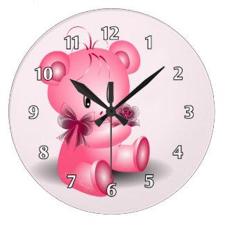 Teddy Bear With Rose Pink Wallclocks