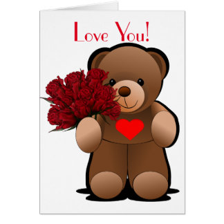 Teddy Bear With Roses and Heart Card