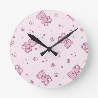 Teddy bears background Pink Clocks
