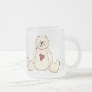 Teddy Bears Heart Frosted Glass Mug