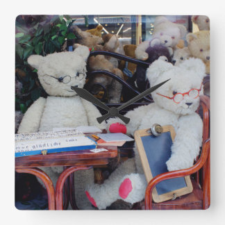 Teddy Bears Reading Lessons Square Wall Clocks