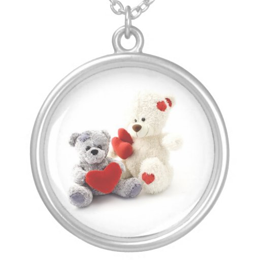 Teddy Bears with Hearts Necklace