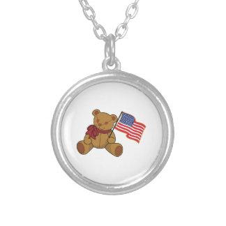 Teddy Flag Round Pendant Necklace