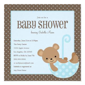 Teddy In Umbrella - Blue   Baby Shower Invite