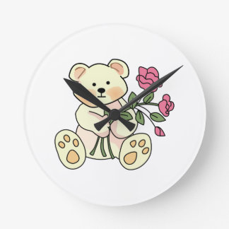 Teddy With Flowers Round Wall Clock