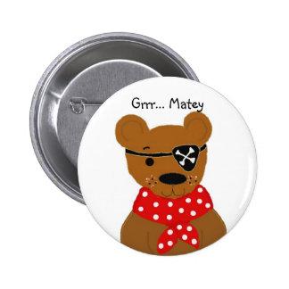 Teddybear Pirate Pinback Buttons