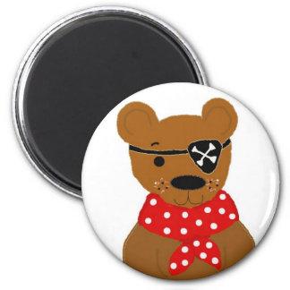 Teddybear Pirate 6 Cm Round Magnet