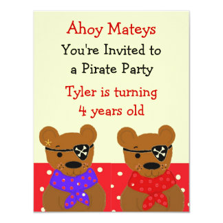 Teddybear Pirate Party Invitation