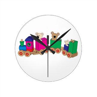 Teddy's Train Ride. Wall Clocks