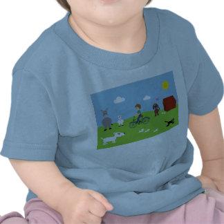 Tee Shirt With Boy On Bike Cute Animals