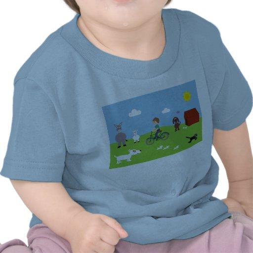 Tee Shirt With Boy On Bike & Cute Animals