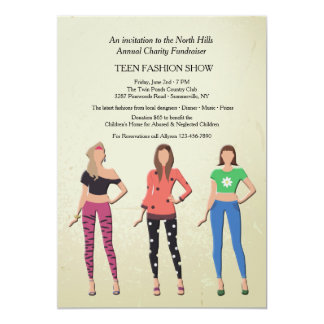Teen Models Fashion Show Invitation