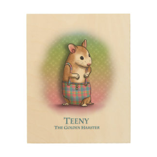 Teeny The Golden Hamster - Wooden wall art
