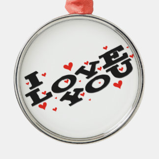 Tell someone you love them - Customisable Silver-Colored Round Decoration