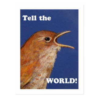 TELL THE WORLD SINGING WREN POST CARD