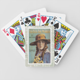 Tell The World Vintage Woman Daisy Sheet Music Bicycle Playing Cards
