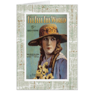 Tell The World Vintage Woman Daisy Sheet Music Greeting Card