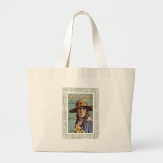 Tell The World Vintage Woman Daisy Sheet Music Large Tote Bag