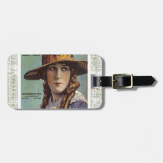 Tell The World Vintage Woman Daisy Sheet Music Luggage Tag
