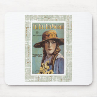 Tell The World Vintage Woman Daisy Sheet Music Mouse Pad
