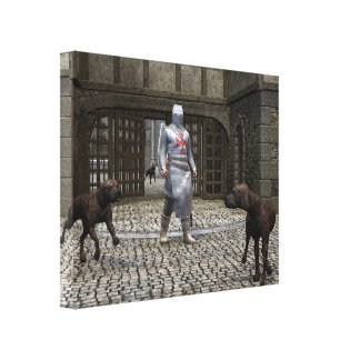 Templar Knight and Guard Dogs at a Castle Gate Canvas Prints