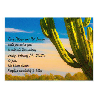 Template Saguaro Cactus Desert Wedding/Reception Card