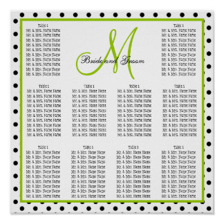Template Wedding Seating Chart Dots Monogram Green Poster