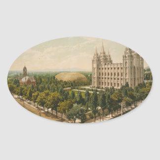 Temple Square Salt Lake City Utah in 1899 Oval Stickers