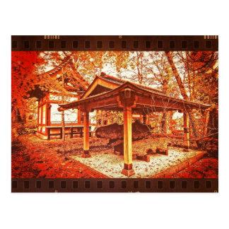 Temple Vivid Autumn Leaves Vintage Film Textured Postcard